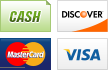 We accept Cash, Discover, MasterCard and Visa.